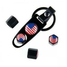 USA US America Flag Black Car Wheel Tire Wheel Valve Stem Cap Stainless steel