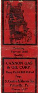Cannon Gas & Oil Corp Morris St Pottsville, Pennsylvania Vintage Matchbook Cover