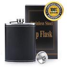 Stainless Steel Hip Liquor Whiskey Alcohol Flask Cap 8oz Pocket Wine Bottle