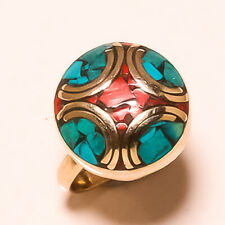 Red Coral Tibetan Turquoise Gemstone Jewelry Adjustable Nepali Ring RD-524