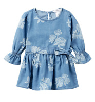 Baby Girl Summer Floral Denim Dress BEBE New size 18 Months
