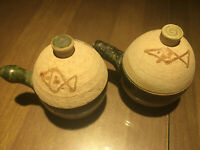 (2) New Set of Japanese Stoneware Teacups with Lids