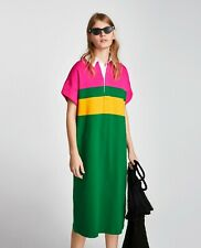 NEW WITH TAG (NWT) ZARA COLORBLOCK SHIRT DRESS Small
