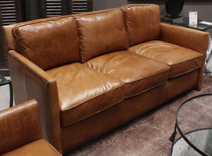 """Set of three item 71"""" L sofa 2 chair distressed light brown leather spectacular"""