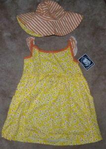 NEW GERBER 2 Piece Sun Dress Hat Yellow Orange Girls 5T NEW NWT