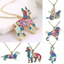 New Colorful Rainbow Printing Butterfly Cat Dog Pendant Necklace Women Jewellery