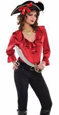 Womens Ruffled Pirate Shirt Renaissance Colonial Dracula Poet Vampire Blouse Top