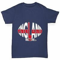 Twisted Envy Boy's England Rugby Ball Flag Funny Cotton T-Shirt