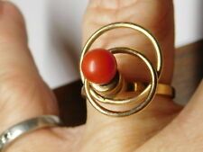 14 kt Yellow Gold Natural Un-dyed Red Coral Gemstone Spinner Ring Hand Made Sz 6