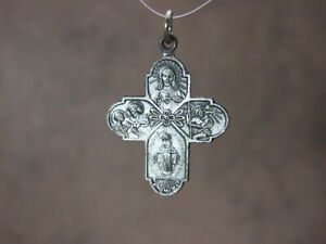 Vintage Antique Catholic Medal 4 WAY CRUCIFORM Multi Image silver finish 28mm