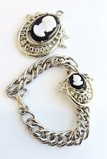 Vintage Cameo Chain Link Bracelet and Necklace Pendant Jewelry White/Ivory Cameo