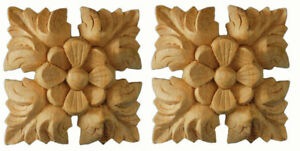 Chic Home Decor Wood Furniture Onlay Appliques, Carved Pine, Matched Pair-PGX931