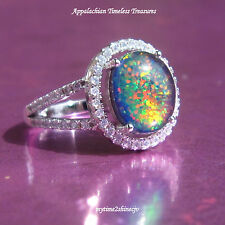 Fiery Opal Ring Solid 925 Sterling Silver Ladies SZ-7 TCW 2.06 NEW Lab Created