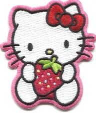 HELLO KITTY with strawberry EMBROIDERED IRON-ON PATCH  **FREE SHIPPING** d89040