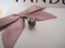 Pandora silver & 14ct gold and diamond clip 790382d