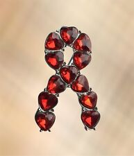 Red Gemstone Silver Ribbon Aids / HIV, Stroke Charity Awareness Pin Brooch Pin
