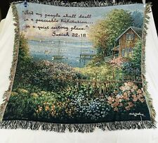 "Woven Tapestry Throw Blanket 52"" x 55"" Lake Cottage SailBoat Isaiah 32:18"