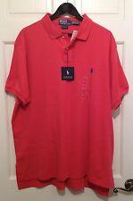 NEW RALPH LAUREN Mens SHORT SLEEVE Custom Fit Interlock Shirt Melon Pink Red XXL