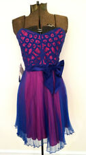betsey johnson blue & pink magenta party with bow dress NWT 12 corset straps