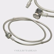 Authentic Pandora Sterling Silver Necklace With Pandora Lock 15.8 590702HV