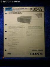 Sony Service Manual MDX 65 Mini Disc changer (#6281)