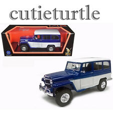 Road Signature 1955 Willys Jeep Station Wagon 1:18 Diecast Model 92858 Blue