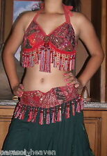 "BELLY DANCE RED CORAL SARI TRIBAL FRINGE TASSEL BRA & BELT SET "" B "" Cup. India"