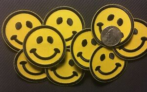 """Smiley face patch smile face embroidered applique iron-on patch 2"""" dia. 8 pieces"""