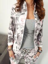 ★Jersey Blazer Sweat Jacke Kurzjacket camouflage Blumen Lurex beige ★ L/XL 40/42
