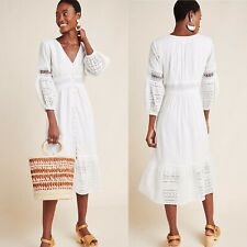 Anthropologie Ebba Womens Eyelet Embroidery Button Up Midi Peasant Dress Sz 2