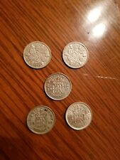 GB SILVER 6 P , 5 COIN LOT, 1933,1936,1938,1938,1944, 0.500 Silver, nice DEF 6