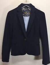 Zara Women Navy Blue Short Blazer 1 Button Lined Medium Cotton Blend Spain