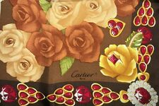 NIB Vintage Beautiful Cartier rose rubys jewelry  FRANCE 100% SILK foulard scarf