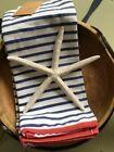 NWT Kitchen Towels Red White Blue Stripe Set of 2 Nautical  Gift