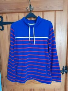 Ladies Equestrian Brand Blue Red And White Striped Sweatshirt Top Size 12