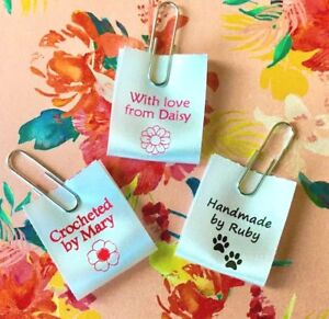 """""""Handmade"""" personalised sew in craft labels for fabric, satin ribbon"""
