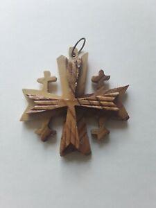 Olive Wood Cross Christmas Ornament from Bethlehem