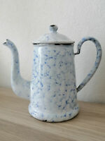 Old French Enameled Coffee pot - famous SNOW ON THE MOUNTAIN graniteware