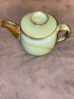 Vtg Frankoma Pottery Teapot 6T Plainsman Prairie Green Brown Clay.