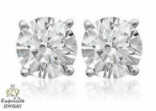 CERTIFIED 2.00ct  F/VS2 ROUND GENUINE DIAMONDS IN 14K GOLD STUDS EARRINGS
