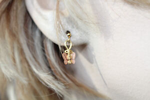 """10K YELLOW/ROSE GOLD BUTTERFLY EARRINNGS1/4 X 9/16"""""""