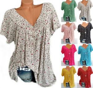 Womens Floral Long Shirts Tops Tee Boho Ladies V-neck Blouse T-shirts Plus Size