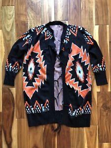 Geometric Navajo Cardigan Jacket Shawl Size Large Southwestern Aztec Sweater