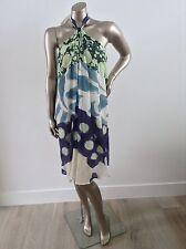 Ladies Designer 100% silk dress by Arthur Galan Size 8 Good Condition Blue Print