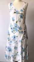 Per Una Midi Dress Floral Broderie Anglaise White Blue Fit Flare Cruise Hols 10