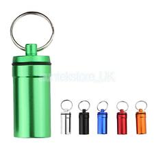 6 Pcs Waterproof Aluminium Pill Money Stash Box Case Holder Keychain Keyring