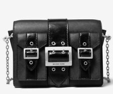 Nwt Michael Kors Black Hayden Leather Chain Messenger Bag Crossbody