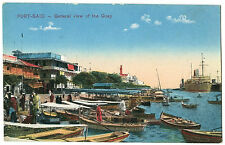 EGYPT PORT SAID GENERAL VIEW OF QUAY VINTAGE POSTCARD STEAMSHIPS BOATS