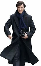 Sherlock Holmes Benedict Cumberbatch Classic Cape Robe Woolen Black Trench Coat