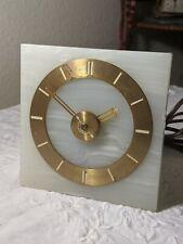 Vintage 1930's Art Deco Alabaster Hammond Clock w/ Alarm & Starter Knob